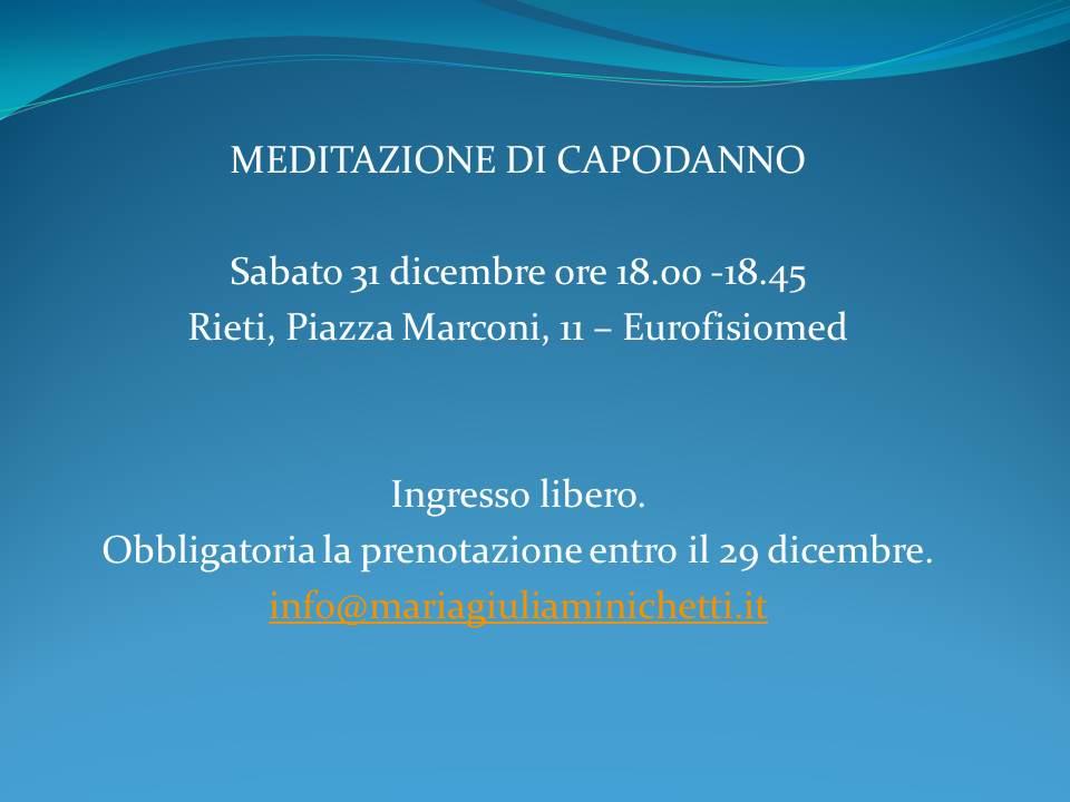 Meditazione di Capodanno